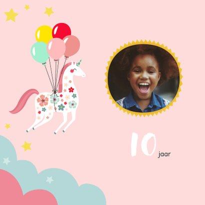 Kinderfeestje unicorn met bloemen en ballonnen uitnodiging 2