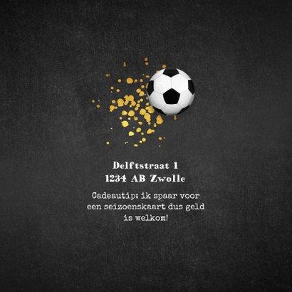 Kinderfeestje voetbal krijt goud foto uitnodiging 2