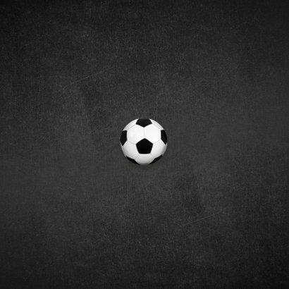 Kinderfeestje voetbal krijt goud foto uitnodiging Achterkant