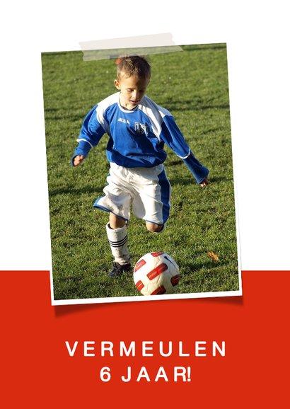 Kinderfeestje voetbalshirt uitnodiging rood wit 2