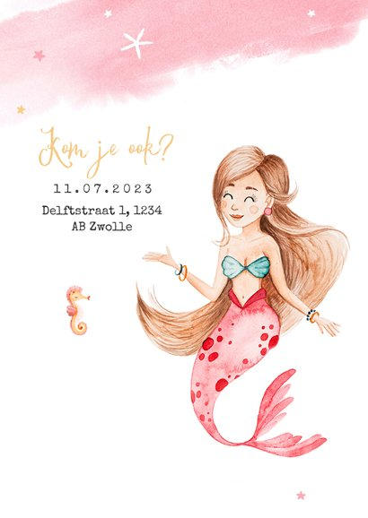 Kinderfeestje zwemfeestje uitnodiging zeemeermin zeepaardje 2