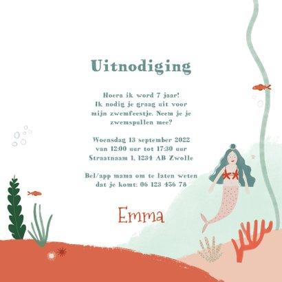 Kinderfeestje zwemfeestje zeemeermin onderwater uitnodiging 3