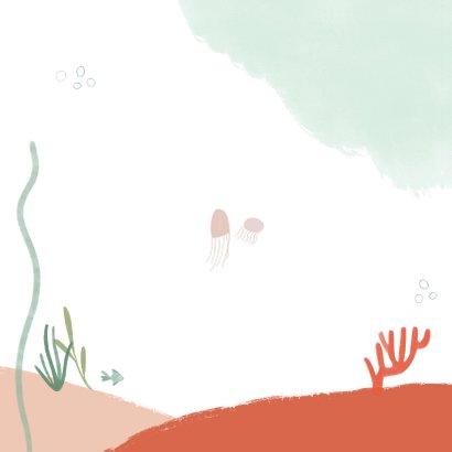 Kinderfeestje zwemfeestje zeemeermin onderwater uitnodiging Achterkant