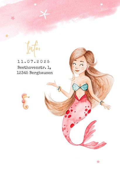 Kindergeburtstag Einladung Aquarell Meerjungfrau und Foto 2
