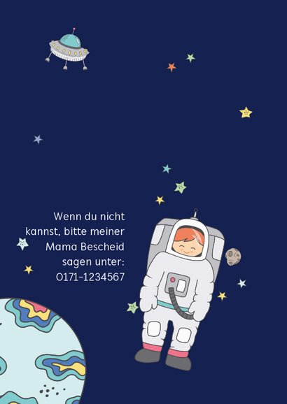 Kindergeburtstag Einladung Astronaut im Weltall 2
