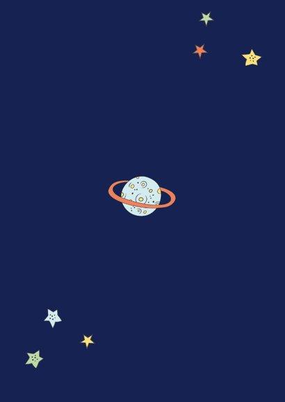 Kindergeburtstag Einladung Astronaut im Weltall Rückseite