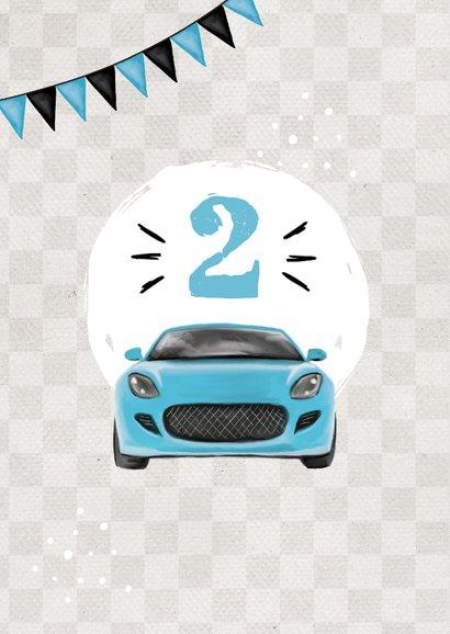 Kindergeburtstagseinladung mit zwei Autos und Girlande 2
