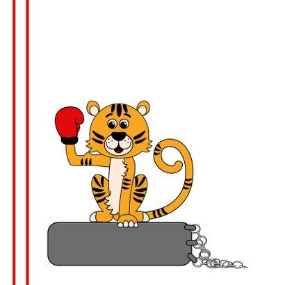 Kinderkaart met een tijger met een bokshandschoen 2