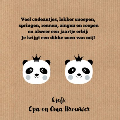 Kinderkaart pandabeer kraftprint 3