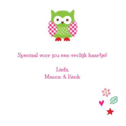 Kinderkaart uiltjes roze  3