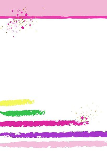 Kinderkaart vrolijke kaart met een unicorn en hartjes 2