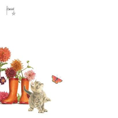 Kittens verjaardagsbloemen in regenlaarzen 2