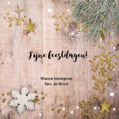 klassieke foto kerstkaart - hout en glitter 3