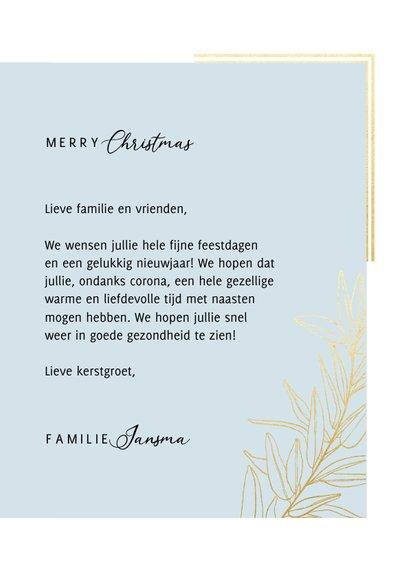 Klassieke fotokaart kerst met grote foto kader en gouden tak 3