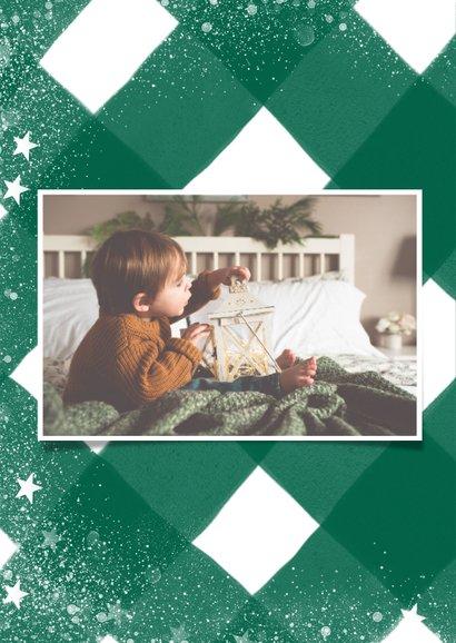 Klassieke fotokaart met ruitenpatroon, sneeuw en christmas 2