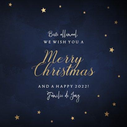 Klassieke kerstkaart gouden sterren 'Merry Christmas' 3