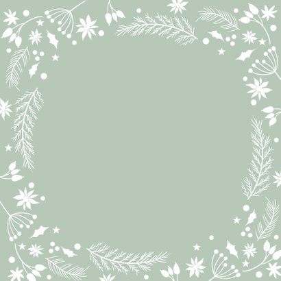 Klassieke kerstkaart kerstbal ornamenten groen Achterkant