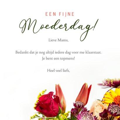Klassieke moederdagkaart met een foto van een fleurig boeket 3
