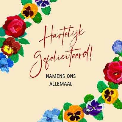 Kleurige kaart met bloemen voor een jarige vrouw 3