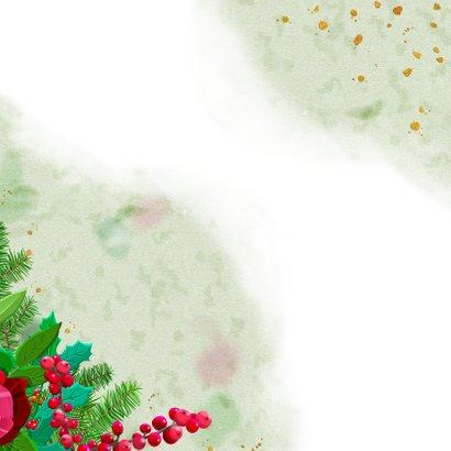 Kleurige kerstkaart met roos en diverse kersttakjes Achterkant
