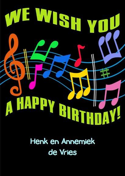 Kleurige verjaardagskaart kleurige letters en taart 3