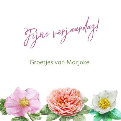 Kleurige verjaardagskaart met roze en andere rozen 3