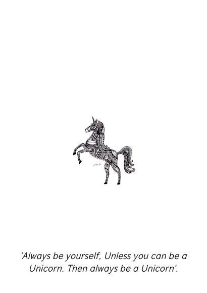 Kleurplaat kaart Unicorn 2
