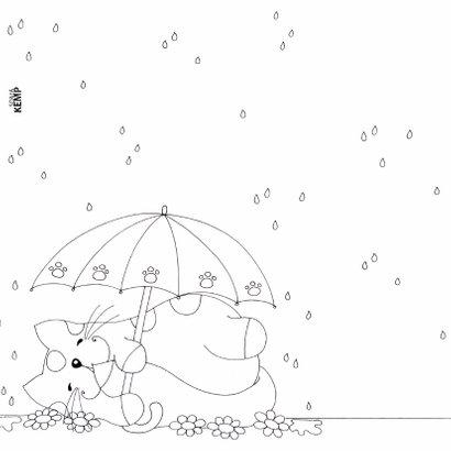Kleurplaatkaart kat onder paraplu - SK 2