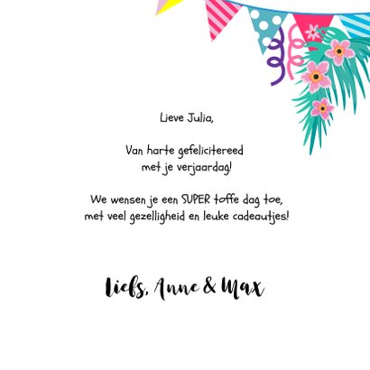 Kleurrijke en vrolijke alpaca verjaardagskaart 3