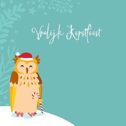 Kleurrijke kerstkaart met uilen in de sneeuw 2