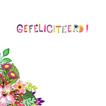 Kleurrijke verjaardagskaart zebra bloemenkroon 2