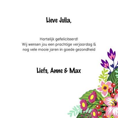 Kleurrijke verjaardagskaart zebra bloemenkroon 3