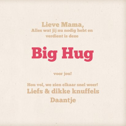Knuffelkaart met beer en een hart big hug! 3