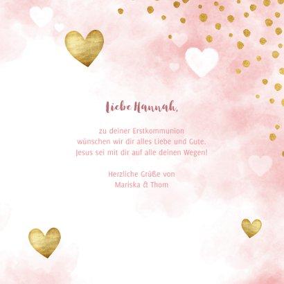 Kommunion Glückwunschkarte Herzen Aquarell 3