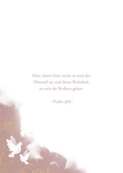 Kommunions-Glückwunschkarte Taube altrosa 2