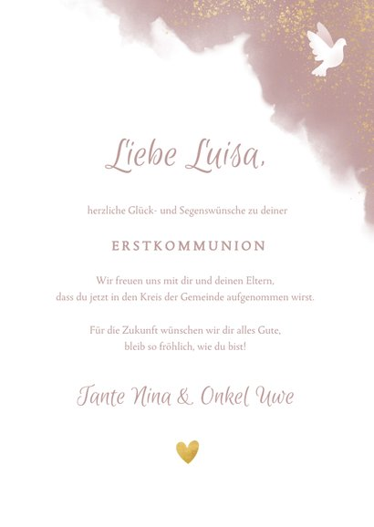 Kommunions-Glückwunschkarte Taube altrosa 3