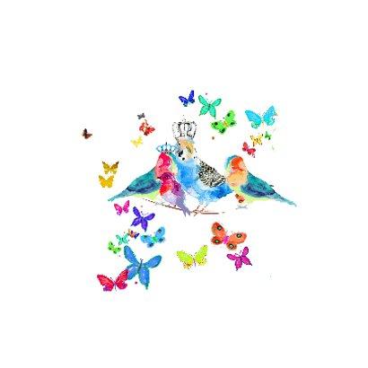 Koninklijke vogels met vlinders  2