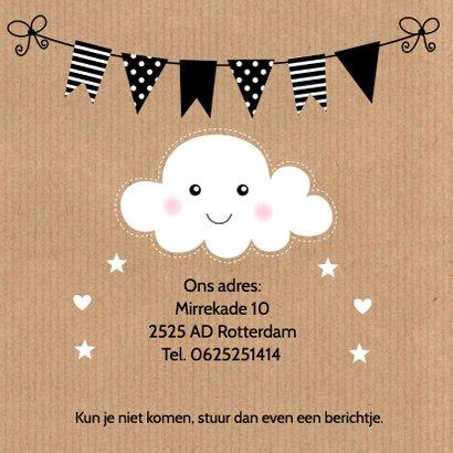 Kraamfeest uitnodiging foto wolkje kraft meisje 2