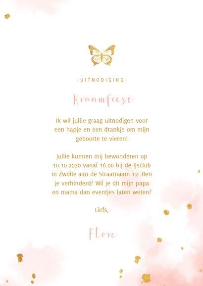 Kraamfeest uitnodiging vlinder goud met waterverf 3