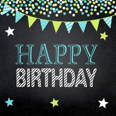 Krijtbord confetti slinger verjaardagskaart 2