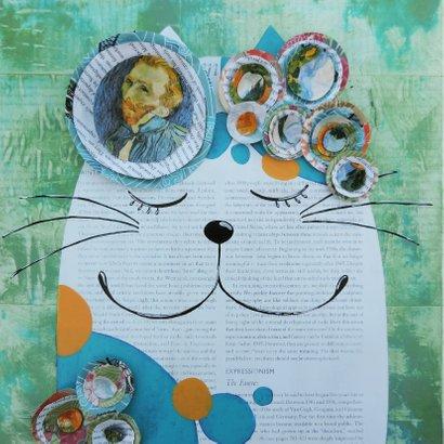 Kunstkaart - De kat van Vincent - door Sonja Kemp 2