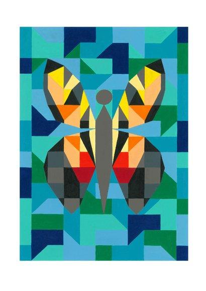 Kunstkaart - Vlinder blauw 2