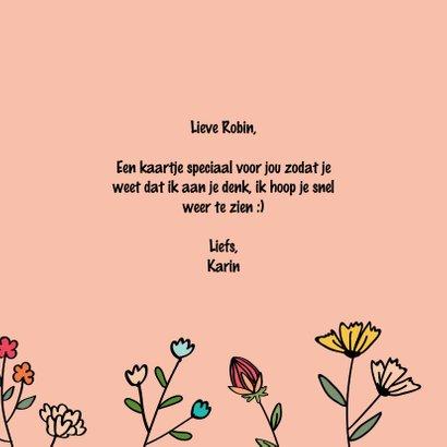 Kus door de brievenbus - hearts and flowers - zomaarkaart 3