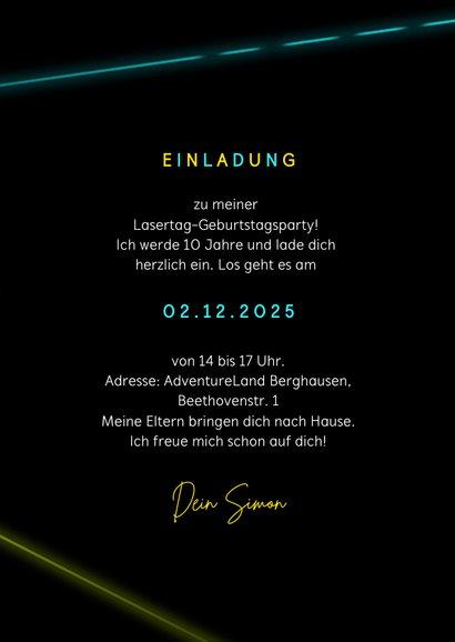 Lasertag Kindergeburtstag Einladung gelb mit Foto 3