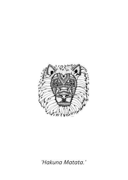 Leeuw zwart/wit illustratie Lion 2