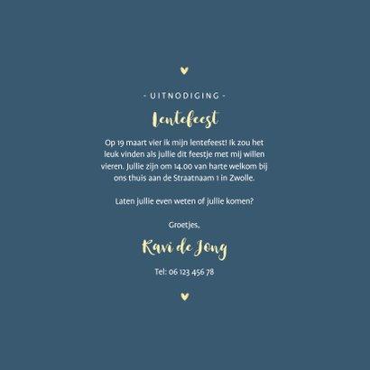 Lentefeest uitnodiging gouden hartjes en sterren aanpasbaar 3