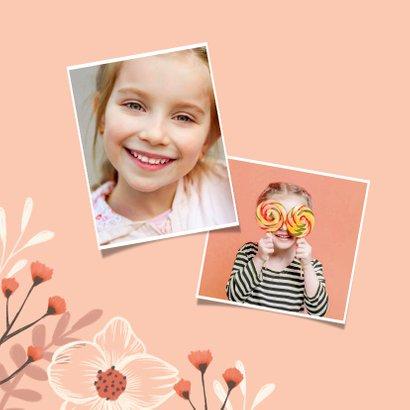 Lentefeest uitnodiging meisje bloemen foto 2