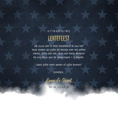 Lentefeest uitnodiging stoer waterverf blauw met sterren 3