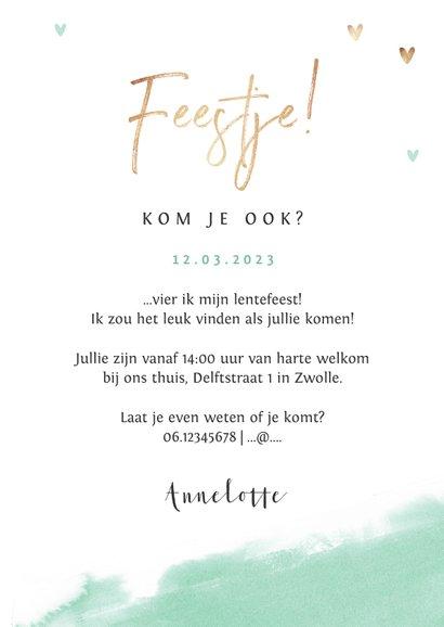Lentefeest uitnodigingskaart meisje gouden hartjes waterverf 3
