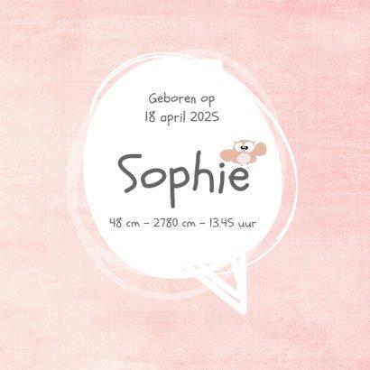 leuk geboortekaartje met lief uiltje en roze achtergrond 3